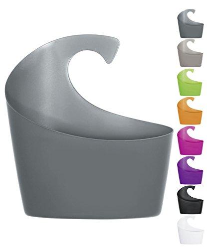 Spirella Duschkorb Sydney mit Haken zum einhängen, kombinierbares Duschregal 30,5 x 27,5 x 10 cm Grau