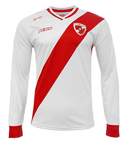 Peru Jersey New Arza Soccer White for Men Long Sleeve 100% Polyester (Medium)