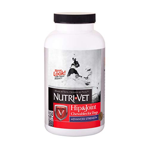 Nutri-Vet Advanced Strength Hip & Joint Chewable Dog Supplements   Formulated with Glucosamine & Chondroitin to Support Dog Cartilage & Mobility   150 Tablets