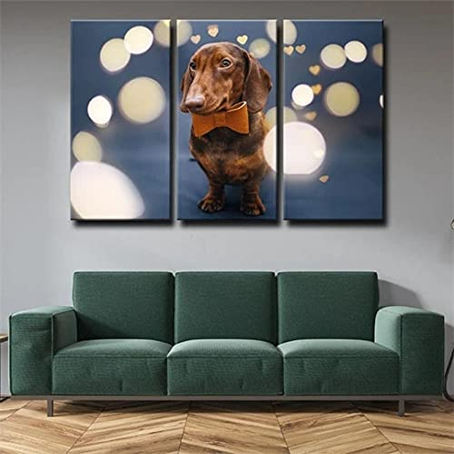 QWASD Cuadro sobre Lienzo 3 Piezas Perro Cuero Mariposa Animal Cuadros En Lienzo 3 Hojas Pintura De Arte De Pared Modular De 3 Piezas De La Sala Dormitorio De Estar-50X70Cmx3 Piezas