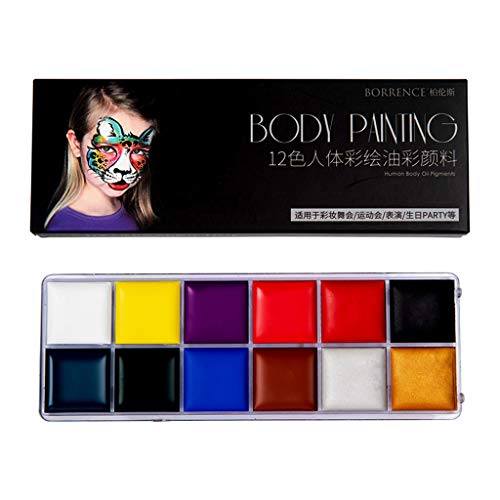 Face Paint Kit Face Body Paint Oil 12 Colors Art Party Fancy Makeup Set, Kitchen,Dining & Bar, for New Year (Multicolor)