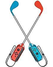 Switch/Switch OLED ゴルフクラブ 任天堂 Joy-Con用 グリップ ゴルフロッド (Mario Golf Super Rush)対応 二個セット 落下防止 ストラップ付き 軽量 装着簡単 長さ約41cm (レッド・ブルー)