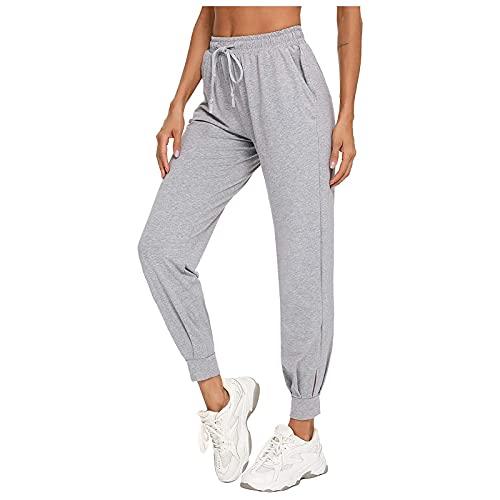 MARTINSHARK Pantalones de verano para mujer, para yoga, correr, fitness, con cordón, con bolsillos, pantalones de yoga para correr y hacer ejercicio, gris, L