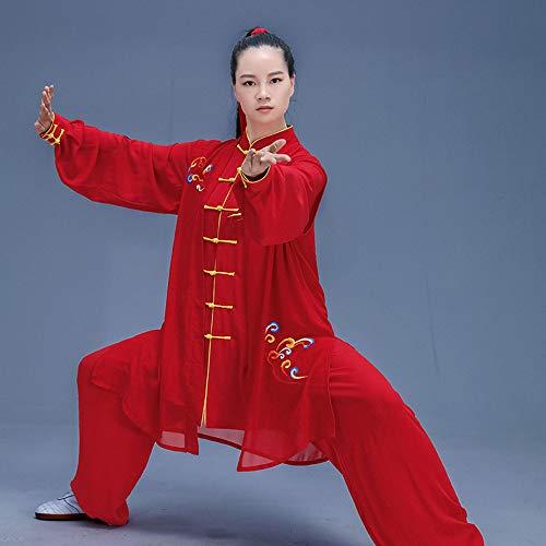 Ropa De Tai Chi Hombre,Chino Clásico Shaolin Kungfu Wing Chun Qi Gong Zen Traje De Meditació Transpirable Manga Larga Suave Disfraz,Red-XS
