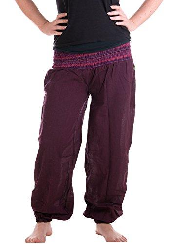 Vishes - Alternative Bekleidung - Sommer Chino Haremshose aus Baumwolle mit super elastischem Bund - handgewebt Pflaume
