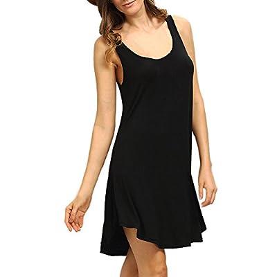 Muranba Womens Dresses Sleeveless Short Mini Dress Vest Summer Beach Long Tops T Shirt