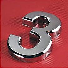 TRJGDCP 1 st Nieuwe Plated Home Decor Adres Scutcheon Cijfers Hotel Deur Sticker Plaat Teken Huisnummer Plaque 5 cm Zilver...