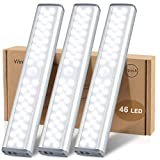 LED Closet Light, MCGOR 46-LED Rechargeable Motion Sensor Closet Light Under Cabinet Light, Dimmable Wireless Stick-on Anywhere Night Light Bar for Kitchen, Wardrobe, Stairs, Bedroom, Hallway (3 Pack)