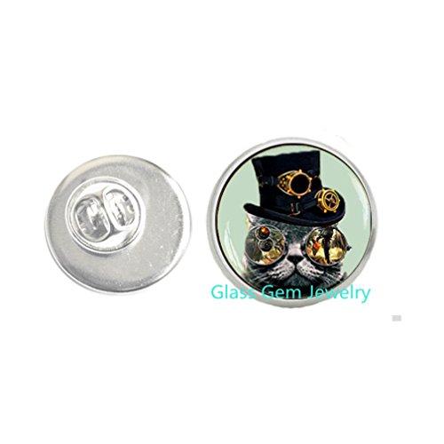 Broche Steampunk gato Steampunk, pin Steampunk, joyería steampunk, broche para hombre, Q0088
