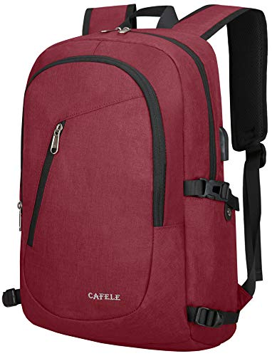 Laptop Backpack,Travel Computer Backpacks for Women & Men,Anti Theft Water Resistant Colleg Bookbag,Slim Business Backpack w/USB Charging Port Fits up to15.6 Inch Laptop,Red