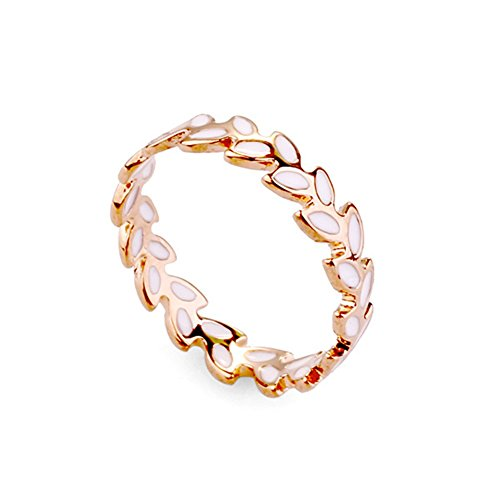 Band Ring, White Enamel Accent Olive Branch Design