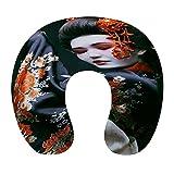 CIKYOWAY Almohada Viaje,Japon Jeune Geisha En Kimono Avec Maquillage De Costume Oriental Traditionnel Sakura,Espuma de Memoria cojín de Cuello,Almohadas de Acampada,Soporte de Cuello para Viaje Coche
