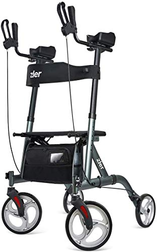 Zler Mobility Rollator Walker, Rollator with Seat and Armrests, Folding Rollator Walker Rolling Mobility Walking Aid with Backrest for Elderly, Seniors Adults