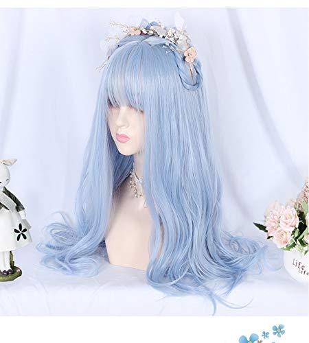 Pelucas dinghome Peluca de cosplay japonesa, pelucas sintéticas de alta calidad para mujeres, pelucas largas y onduladas de pelo ondulado, mullido amd natural, azul claro con flequillo, para Halloween