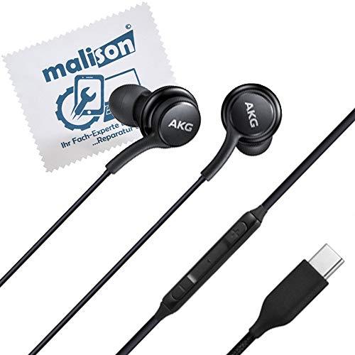 Stereo-In-Ear-Kopfhörer für Original AKG Samsung Typ USB-C für Galaxy Note 10 / Note 10 Plus / Headset / headphone / Black / GH59-15106A [mit maIison-Displayputztuch] (frustfreie Verpackung) (Schwarz)