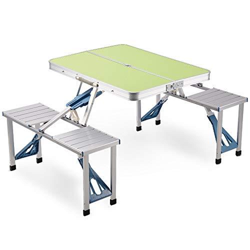 Jia He Picknicktisch Outdoor klapptisch kombination aluminiumlegierung einfache tisch tragbare multifunktions tisch hause selbstfahrende tour picknick camping vier klapptisch und stühle integriert typ