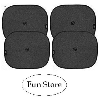 Fun Store Fs-3 Universal Black Cotton Fabric Car Window Sunshades with Vacuum Cups (Set of 4)