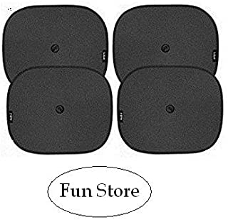 Fun Store Fs-3 Universal Black Cotton Fabric Car Window Sunshades with Vacuum Cups (Set of 4)