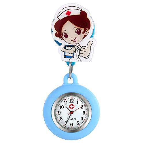 Relojes de Enfermera retráctiles con Clip para Solapa, médicos, clínicas, túnica, Estetoscopio, Insignia de Silicona, Reloj de Lactancia para niñas (Azul)