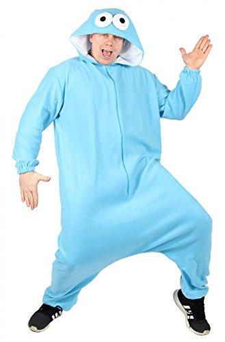 Foxxeo 40303 l Blaues Monster Kostüm für Erwachsene l Größe S, M, L, XL, XXL l Herren Overall Damen Jumpsuit Pyjama Damenkostüm Herrenkostüm Fasching Party Motto Kekse Monsterkostüm, Größe:XXL