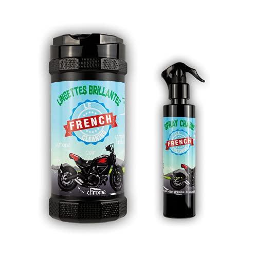 Le French Cleaning – Pack de protección brillante y de mantenimiento para cadena de moto – Sin disolventes ni silicona – Deposita una película protectora (80 toallitas)