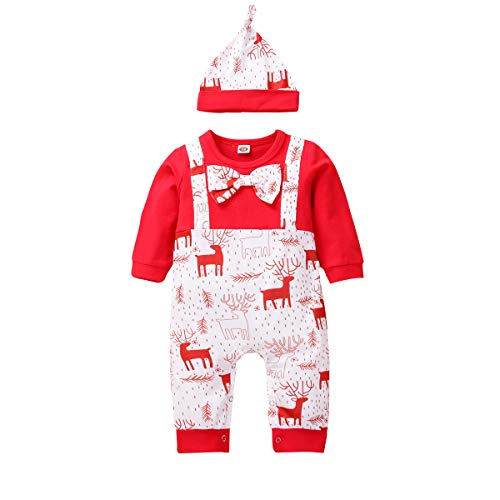 TUEMOS Newborn Baby Boys Christmas Clothes Deer Print My First Christmas Romper Jumpsuit with Hat One Piece Overall Outfits