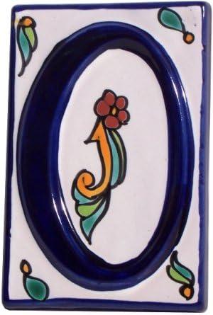 Fine Crafts Imports Colonial Talavera Ceramic House Number Zero