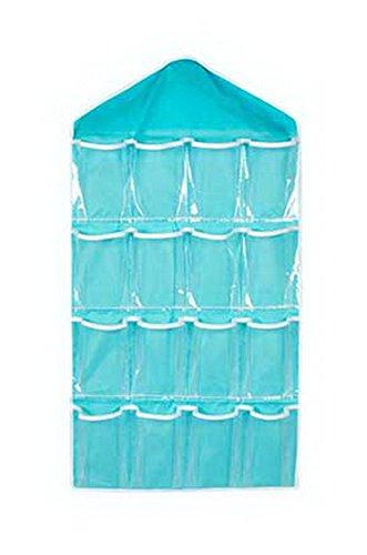 Spicy Meow Ropa Interior de Armario de 16 Bolsillos Organizador Calcetines de Armario Transparente Bolsa Colgante Azul