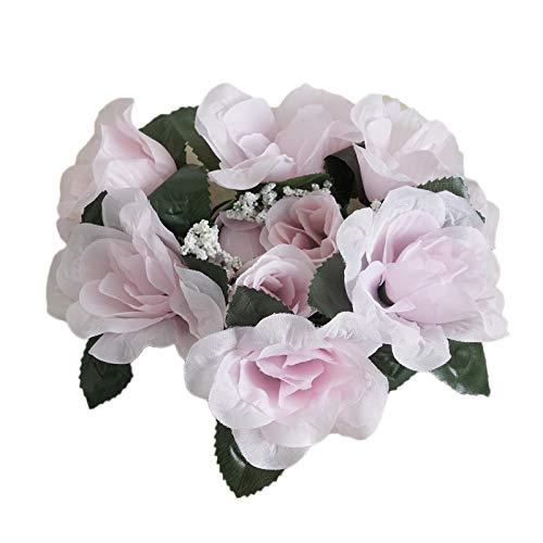 BalsaCircle Artificial Flowers BalsaCircle 4 Blush Silk Roses Candle Rings - Artificial Flowers Wedding Party Centerpieces Arrangements Bouquets Supplies