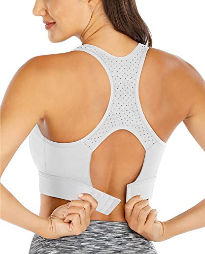 Ewedoos Sports Bras for Women High Impact Sports Bra Soft & Comfy Racerback Bras Workout Bras for Women Gym Training Fitness Lightgrey