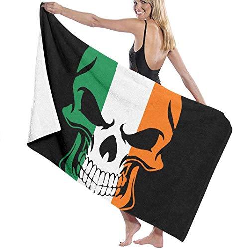 Toalla De Playa Toallas Baño,Bandera Irlandesa De Irlanda Cool Skull, Impresión 3D Toallas De Viaje Absorbentes Suaves Y Ligeras Toallas De Baño Deportivas para Nadar En La Piscina Yoga 80X130Cm