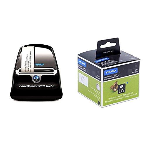 Dymo LabelWriter 450 Turbo + Dymo S0722430 LW Große Versandetiketten/Namensschilder (101 mm x 54 mm Rolle, 220 Stück) schwarzer Druck auf weiß