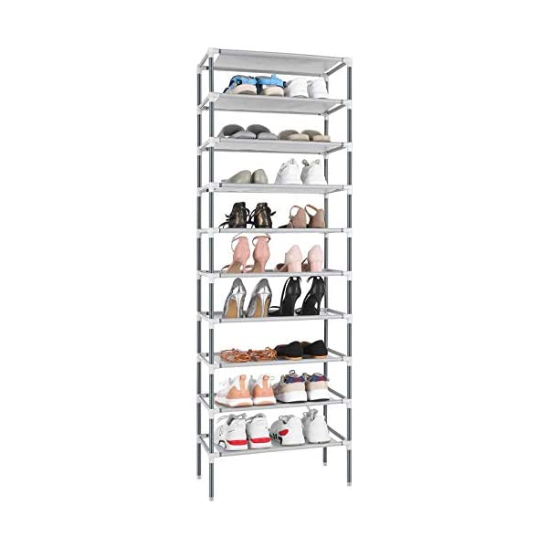 Hosmat 10-Tier Shoe Rack Free Standing Non-woven Fabric 30-Pair Shoe Tower Organizer...