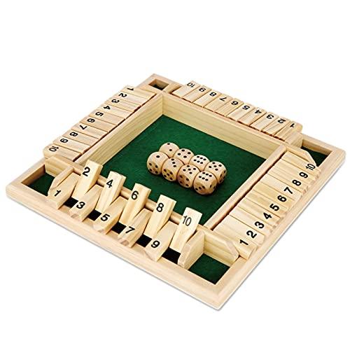 kramow Shut the Box Brettspiele Holzspielzeug 4 Spieler Würfel Brettspiel für Familien Bildungsspiel für Kinder