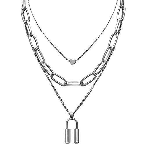 DTWAWA Layered Necklace Choker Lock Pendant Punk Long Chain Personality Simple Jewelry for Women