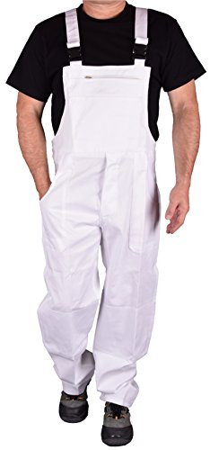 Stabile Heimwerker Arbeits-Latzhose Arbeitshose Arbeitskleidung IW023 (52, Weiß)