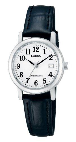 Lorus Klassik Damen-Uhr mit Palladiumauflage und Lederband RH765AX9