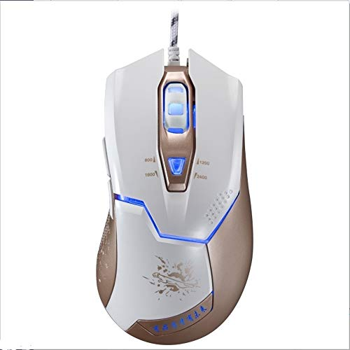 Anbel LED de respiración Juegos de luz con Cable óptico del ratón del Ordenador USB 2400dpi Cuatro velocidades Ajustable asimétrica, Longitud: 1,8 m Ratón (Color : White)