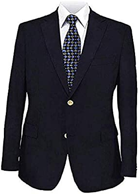 Big and Tall Navy Premium All Wool Classic Blazer to Size 66 in Portly, Regular, Short, Long, and Extra Long Sizes (48 Portly Short) by