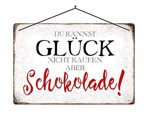 Metalen bord Du Kannst Glück nicht kopen - maar Chocolade met koord 20x30