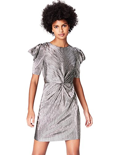 Amazon-Marke: find. Damen Plisse-Abendkleid in Metallic, Silber, 34, Label: XS