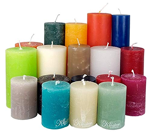 Kloster Design 6 Kilo RUSTK Stumpenkerzen durchgefärbt von Kerzenwelt, 1. Wahl, Kerzenpaket Kerzenset (bunt)