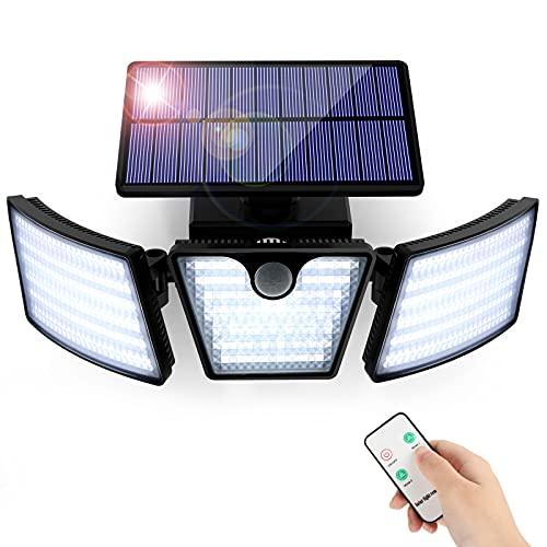 GolWof Luz Solar Exterior Sensor de Movimiento 265 LED 3 Modos lluminación Lampara Solar para Exterior con Mando a Distancia IP65 Impermeable Foco Solar Exterior para Frente Jardin Garaje Camino