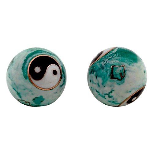Raum der Stille Qi Gong Kugeln 3,5cm mit Aufbewahrungsbox Verschiedene Varianten (Yin Yang weiß/grün)