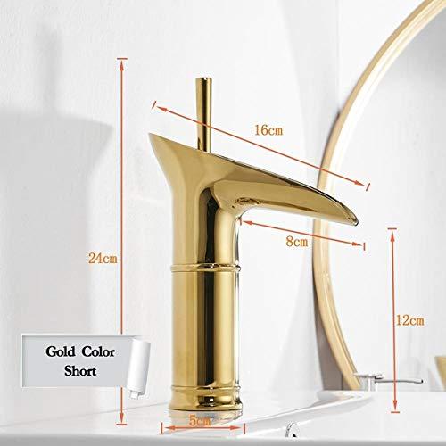 Elegant zwart geborsteld wijnglas stijl waterval badkamer bad kraan, messing warm en koud badkamer wastafel kraan, puur koper badkamer kraan, zilver kraan Goud Kleur Korte