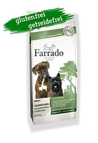 Farrado Kaninchen - Hundetrockenfutter für ausgewachsene Hunde Aller Rassen - getreidefrei, glutenfrei, zuckerfrei (12kg)