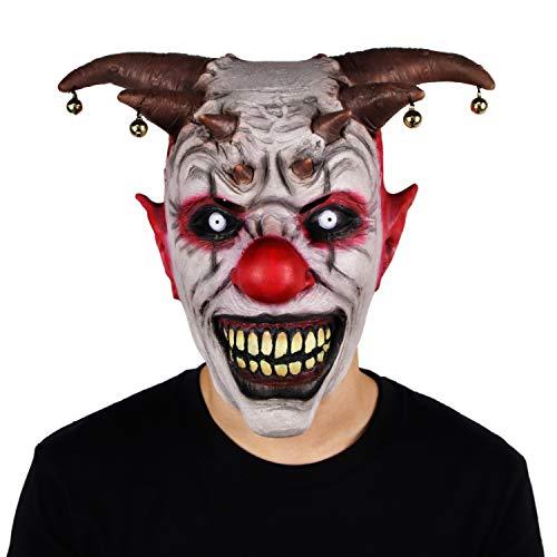 Bell Clown masker Halloween Latex Horror Bell hoofddeksel Wraith eng masker