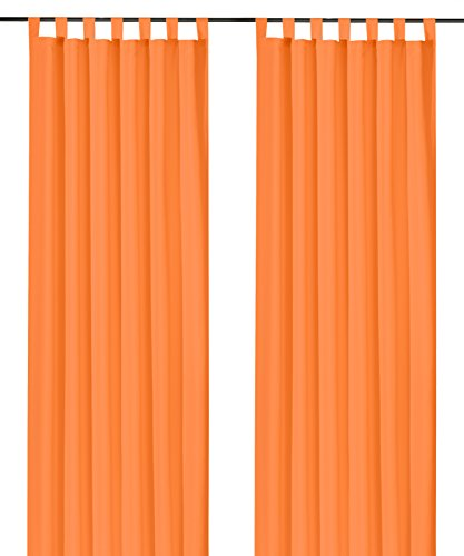 heimtexland ® Dekoschal mit Schlaufen und Kräuselband uni in orange HxB 245x140 cm BLICKDICHT aber Lichtdurchlässig - Vorhang natürlich matt einfarbig mit wunderschön leichtem Fall - Schlaufenschal Bandschal ÖKOTEX Gardine Typ117