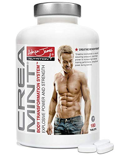 Adrian James Nutrition - Creamint Muscle Building Mints for Men & Women, Creatine Monohydrate for Power & Performance, Premium Grade UK Made, Quality Assured, 180 Extra Strong Mint Tablets