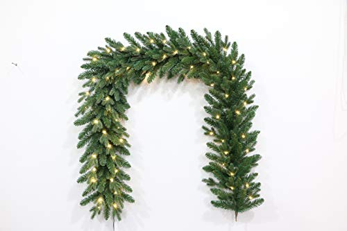 6.5 Foot European Holiday Favorite Christmas Garland Pre-lit with Warm White LED Lights